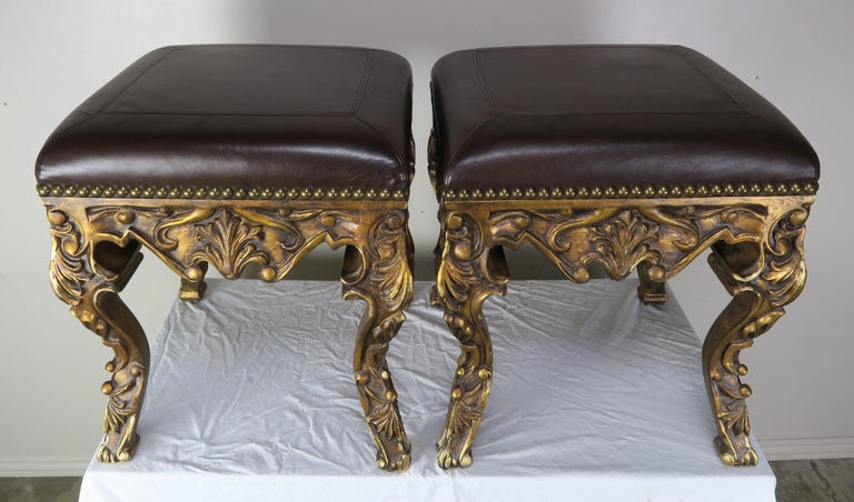 Pair of French Louis XV Leather Benches, circa 1950s In Distressed Condition For Sale In Los Angeles, CA