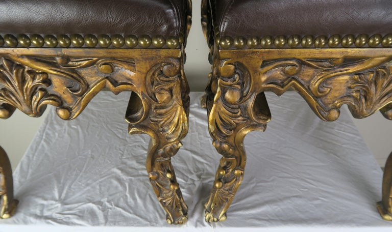 Brass Pair of French Louis XV Leather Benches, circa 1950s For Sale