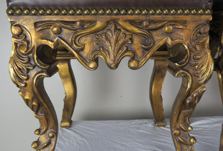 Pair of French Louis XV Leather Benches, circa 1950s For Sale 1