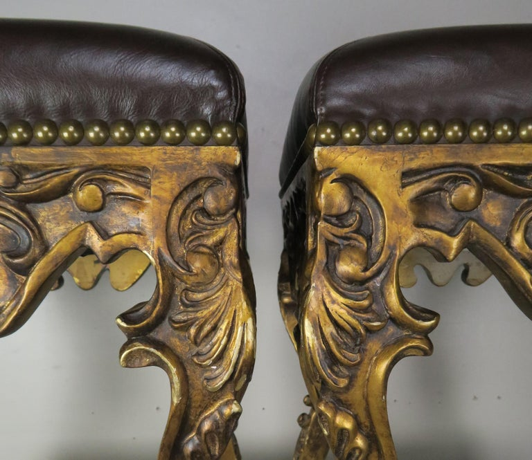 Pair of French Louis XV Leather Benches, circa 1950s For Sale 2