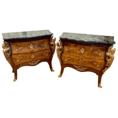 Pair of French Louis XV Marble-Top Inlaid Bombe Chests, Mounted Bronze Ormolu