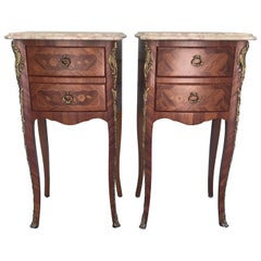 Pair of French Louis XV Marble-Top Marquetry Nightstands