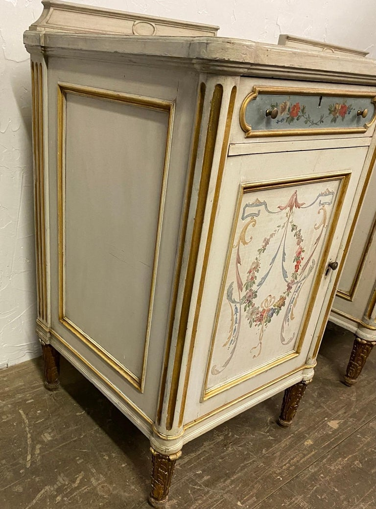 Rococo Pair of French Louis XV Paint Decorated Nightstands For Sale