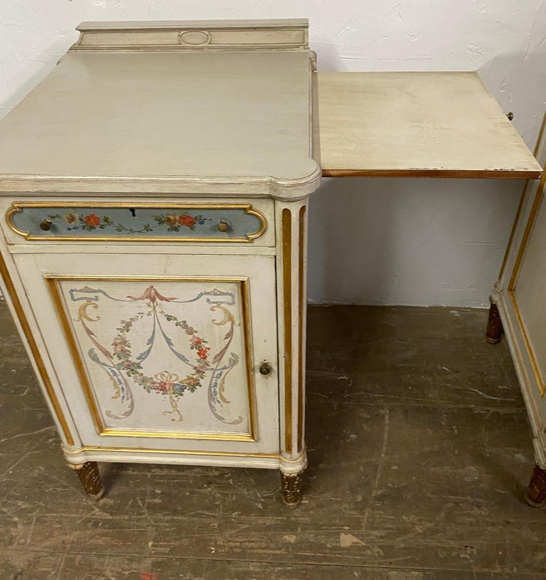 20th Century Pair of French Louis XV Paint Decorated Nightstands For Sale