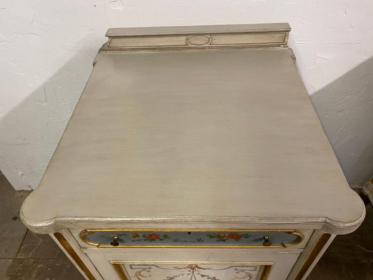 Pair of French Louis XV Paint Decorated Nightstands For Sale 2