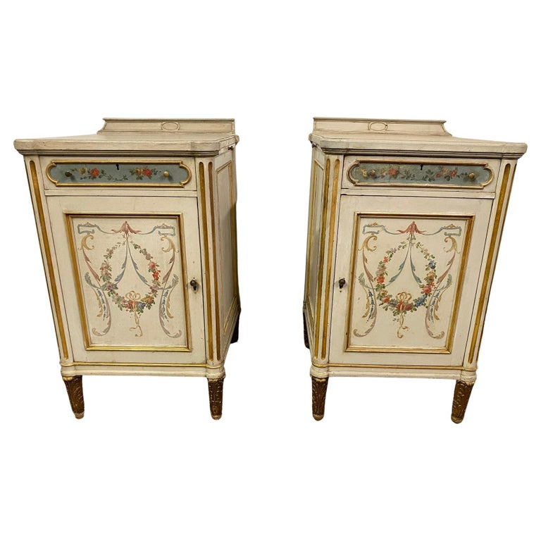 Pair of French Louis XV Paint Decorated Nightstands For Sale