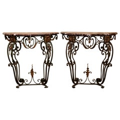 Pair of French Louis XV Painted Iron and Marble Demi Lune Wall Console Tables