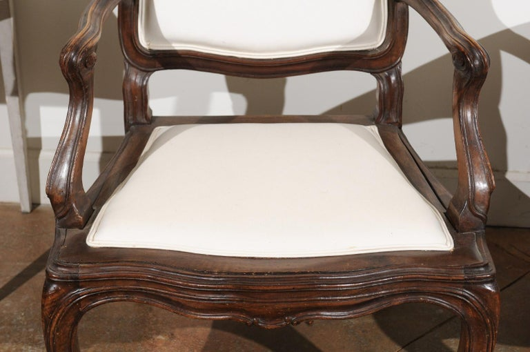 Pair of French Louis XV Style 1820s Walnut Fauteuils with New Upholstery 6