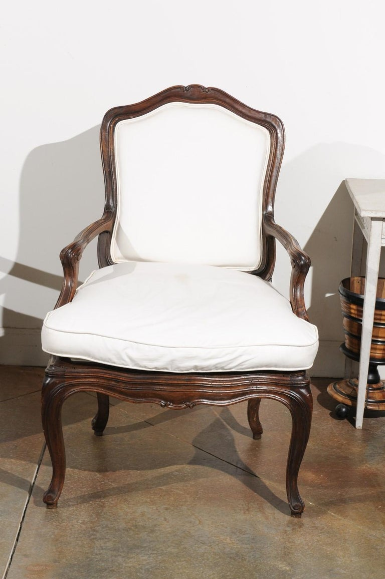 19th Century Pair of French Louis XV Style 1820s Walnut Fauteuils with New Upholstery