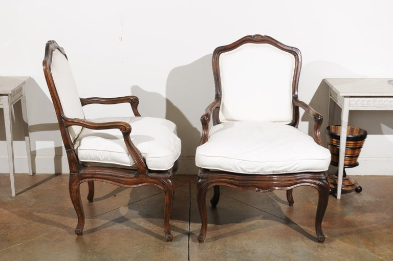 Pair of French Louis XV Style 1820s Walnut Fauteuils with New Upholstery 2