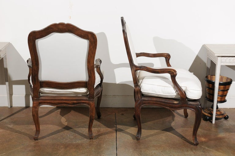 Pair of French Louis XV Style 1820s Walnut Fauteuils with New Upholstery 3
