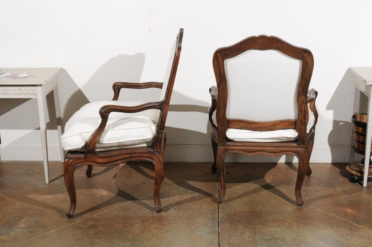 Pair of French Louis XV Style 1820s Walnut Fauteuils with New Upholstery 4