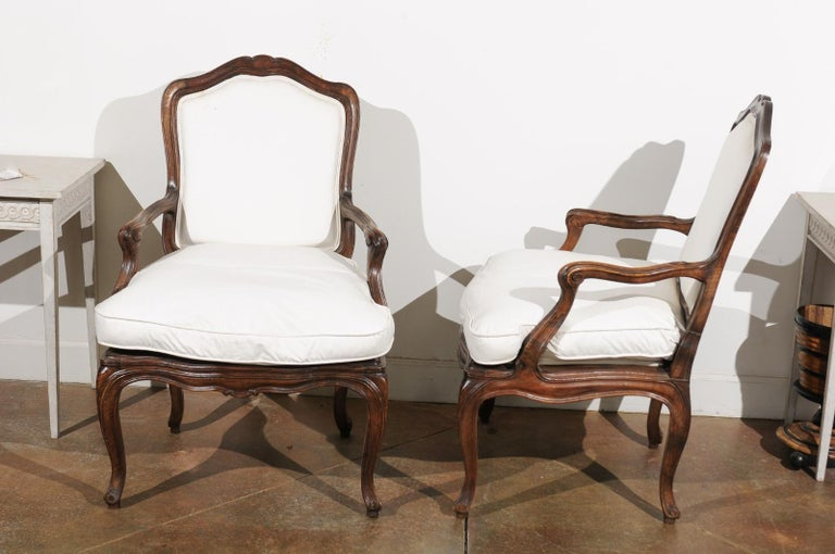Pair of French Louis XV Style 1820s Walnut Fauteuils with New Upholstery 5