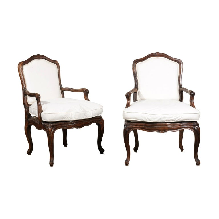 Pair of French Louis XV Style 1820s Walnut Fauteuils with New Upholstery
