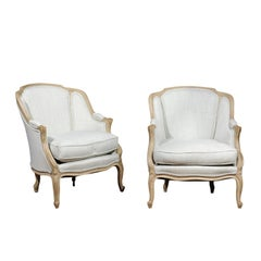 Pair of French Louis XV Style 1880s Bergères Chairs with Wraparound Backs
