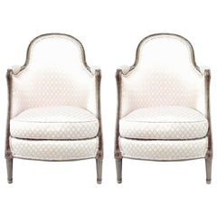 Pair of French Louis XV Style '19th Century' Bergere Armchairs