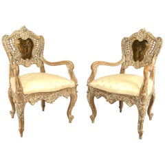 Pair of French Louis XV Style Arm Open Chairs