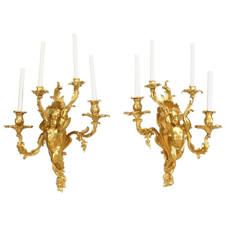 Pair Of French Louis XV Style '19th Century' Bronze Dore
