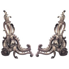 Pair of French Louis XV Style '19th Century' Bronze Doré Scroll Design Andirons