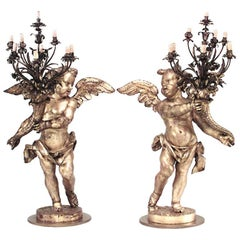 Pair of French Louis XV Style, 19th Century Gilt Cupid Torchiere