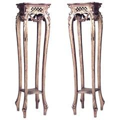 Pair of French Louis XV Style '19th Century' Gilt Four Legged Square Pedestals