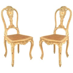 Pair of French Louis XV Style '19th Century' Stripped Side Chairs