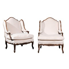 Pair of French Louis XV Style 19th Century Walnut Confessional Bergère Chairs