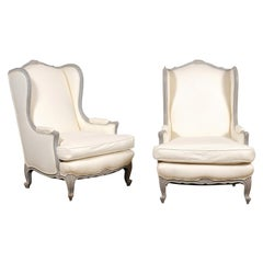 Pair of French Louis XV Style 19th Century Wingback Bergères with New Upholstery