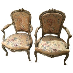 Pair of French Louis XV-Style Armchairs, 19th Century, Original Tapestry