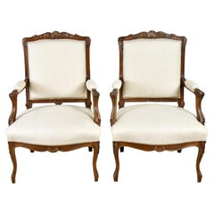 Pair of French Louis XV Style Armchairs in Walnut with Upholstery, circa 1870