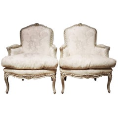 Pair of French Louis XV Style Armchairs with a Gray Painted Finish