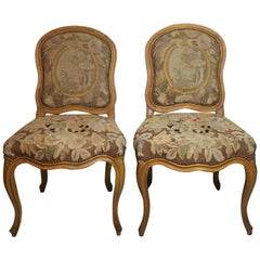 Pair of French Louis XV Style Aubusson Upholstered Chairs