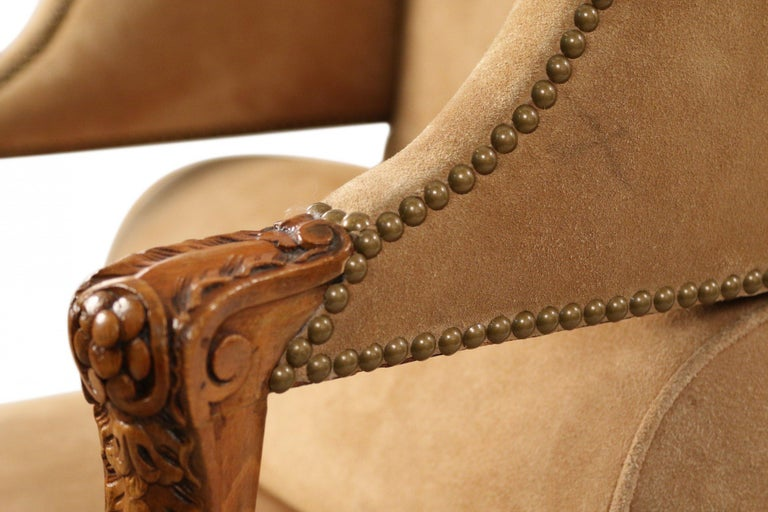 Pair of French Louis XV Style Beige Suede Upholstered Open Wingback Armchairs For Sale 4