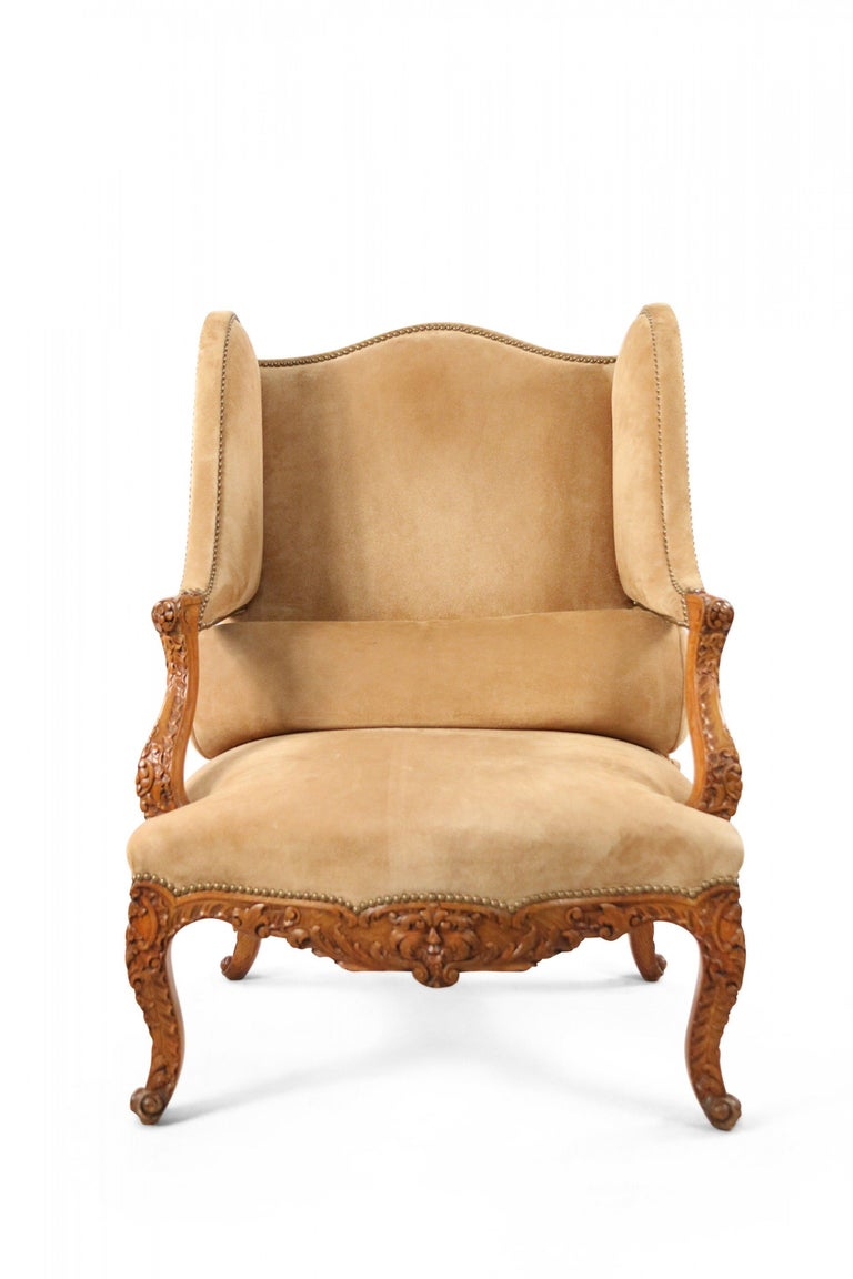 Louis XVI Pair of French Louis XV Style Beige Suede Upholstered Open Wingback Armchairs For Sale