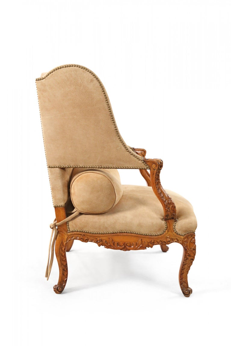 Pair of French Louis XV Style Beige Suede Upholstered Open Wingback Armchairs In Good Condition For Sale In New York, NY