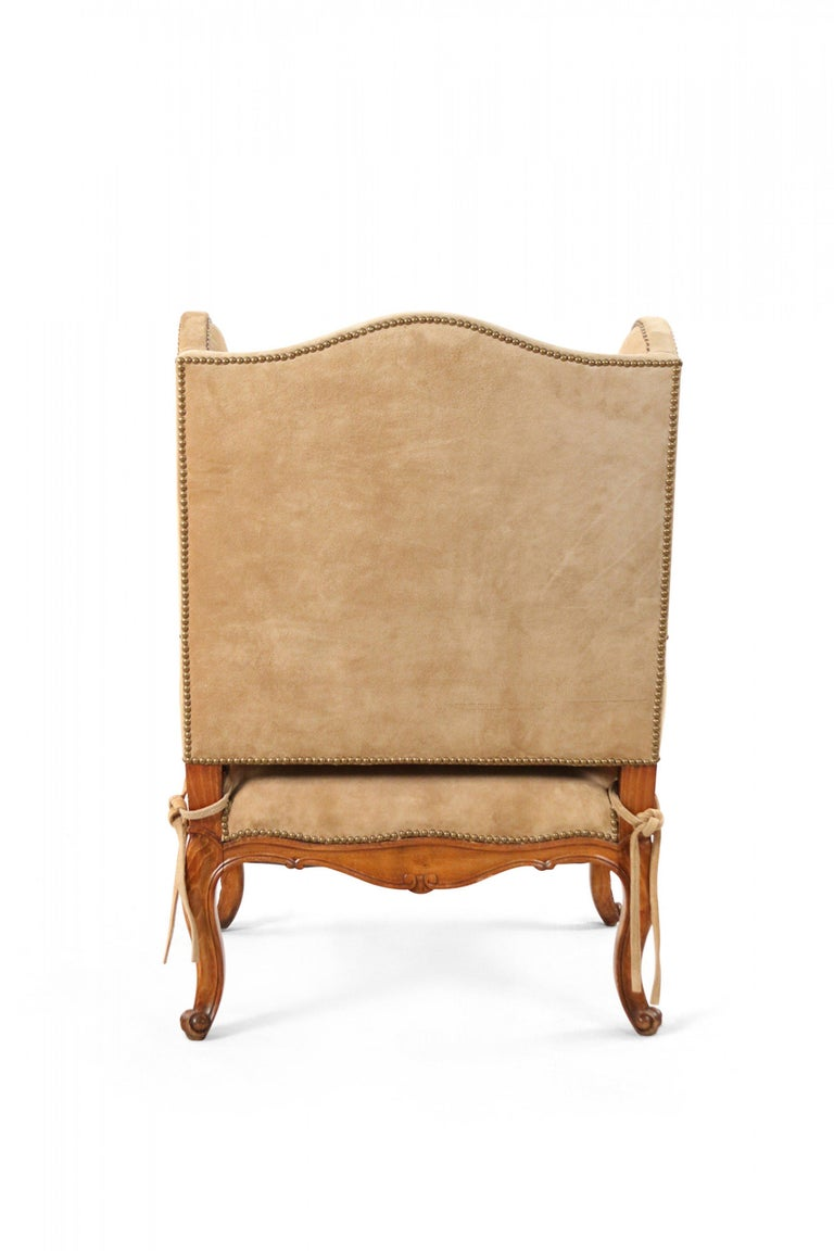 19th Century Pair of French Louis XV Style Beige Suede Upholstered Open Wingback Armchairs For Sale