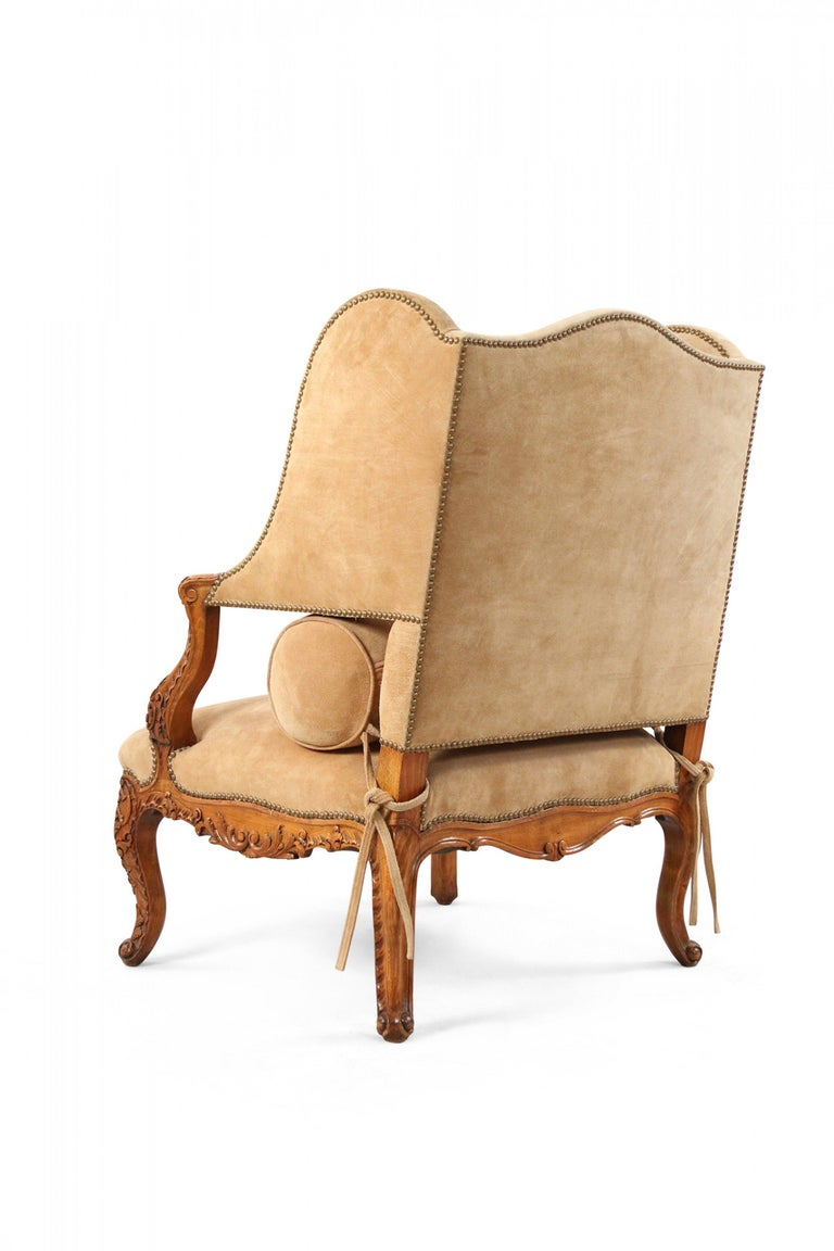 Wood Pair of French Louis XV Style Beige Suede Upholstered Open Wingback Armchairs For Sale