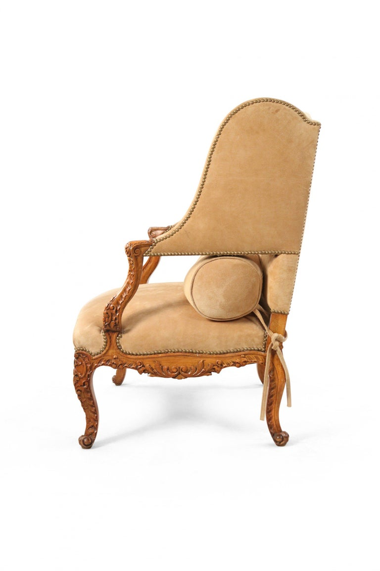 Pair of French Louis XV Style Beige Suede Upholstered Open Wingback Armchairs For Sale 1