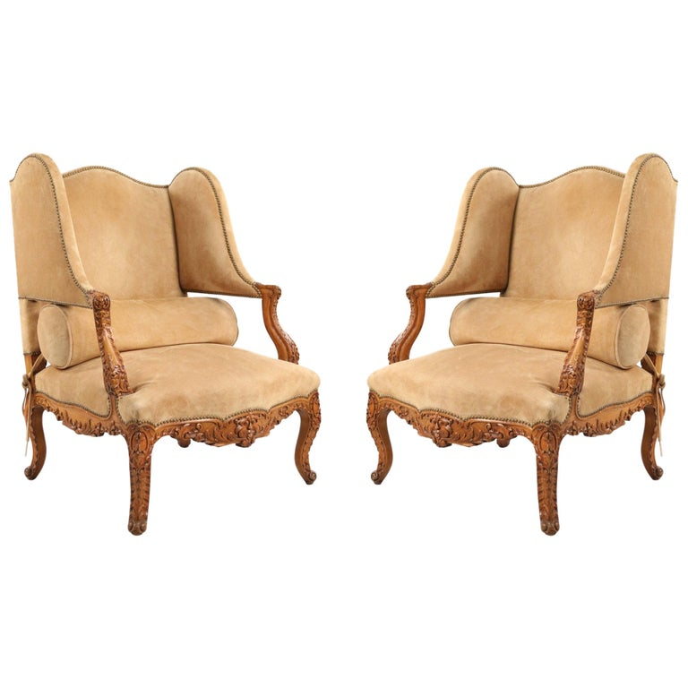 Pair of French Louis XV Style Beige Suede Upholstered Open Wingback Armchairs For Sale