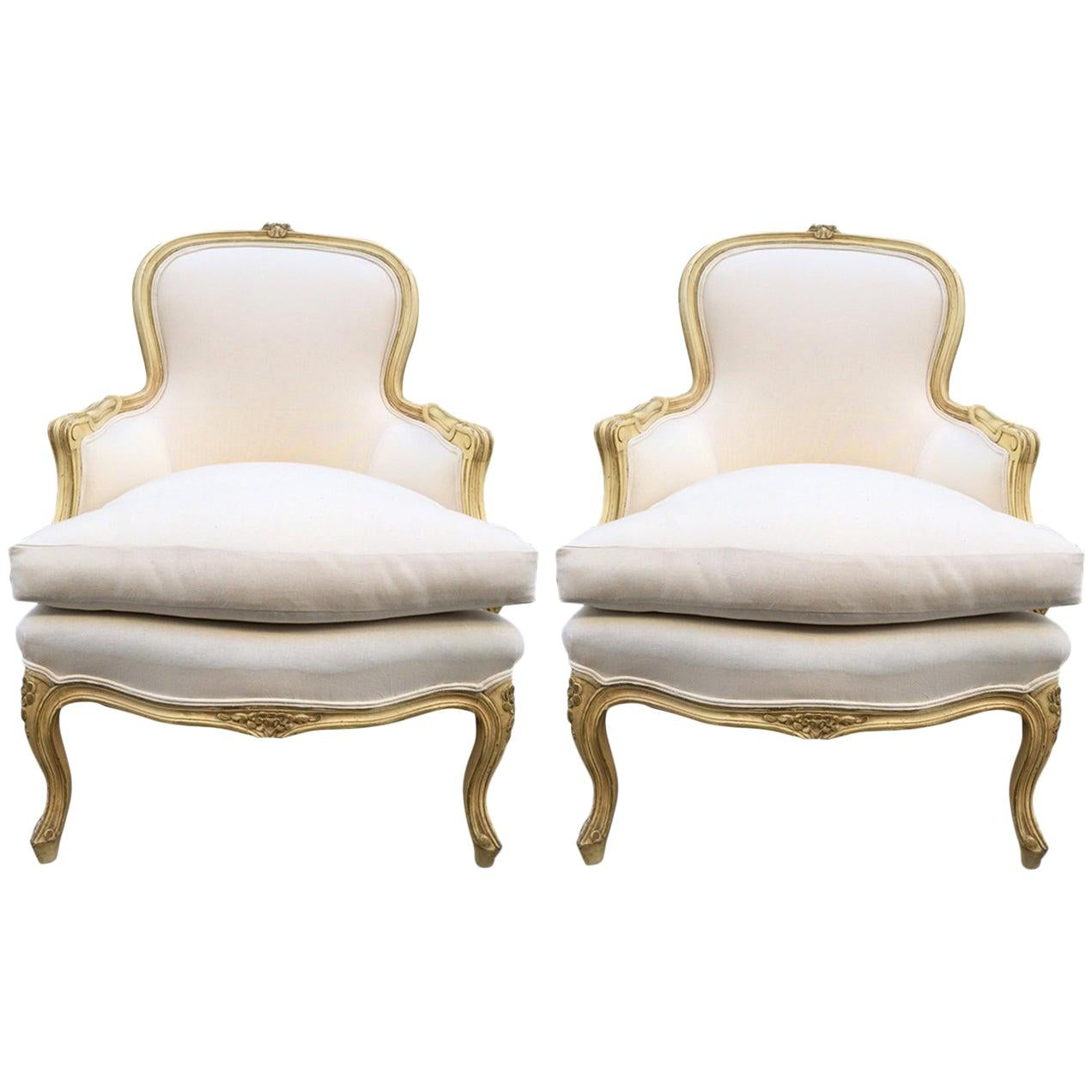Pair of French Louis XV Style Bergère Chairs