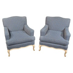 Pair of French Louis XV Style Bergère Club Lounge Chairs