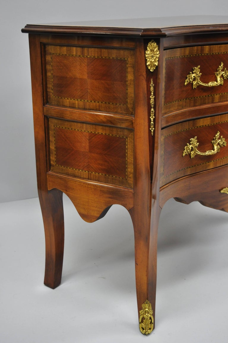 Carved Pair of French Louis XV Style Bombe Commode Banded Top Chest of Drawers For Sale