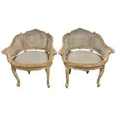 Pair of French Louis XV Style Cane Armchairs, circa 1930