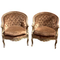 Pair of French Louis XV Style Carved and Gilded Bergères