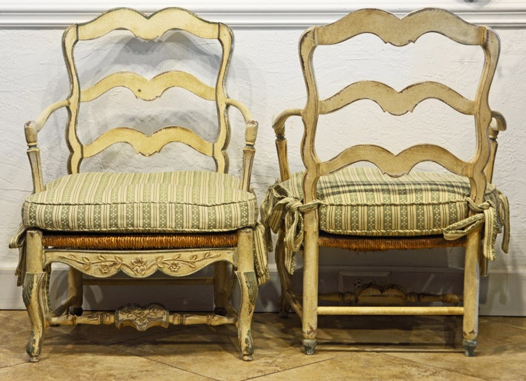 Pair of French Louis XV Style Carved and Painted Bergere Chairs, 20th Century In Good Condition For Sale In Ft. Lauderdale, FL