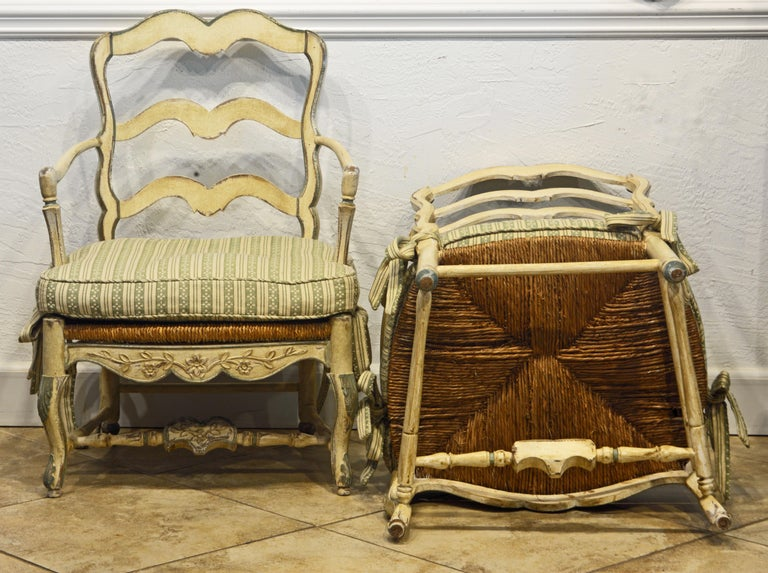Fabric Pair of French Louis XV Style Carved and Painted Bergere Chairs, 20th Century For Sale
