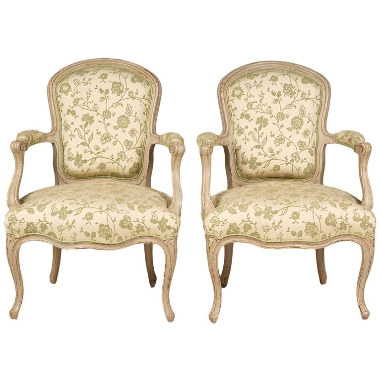 Pair of French Louis XV Style Carved and Painted Upholstered Armchairs For Sale