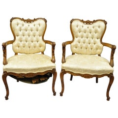 Pair of French Louis XV Style Carved Fireside Armchairs