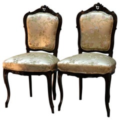 Pair of French Louis XV Style Carved Walnut Parlor Side Chairs, circa 1890