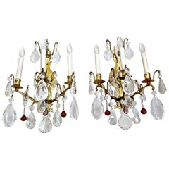 Pair of French Louis XV Style Crystal Brass Wall Light Sconces
